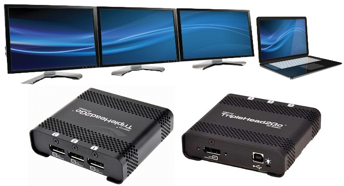 Add up to three monitors to your notebook or desktop computer with Matrox TripleHead2Go DisplayPort Edition.