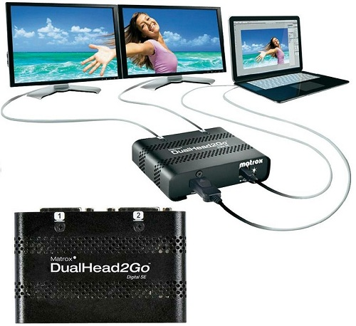 Add up to two monitors to your notebook or desktop computer with Matrox DualHead2Go Digital SE.