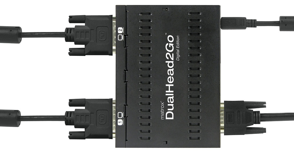 Add up to two monitors to your notebook or desktop computer with Matrox DualHead2Go Digital Edition.